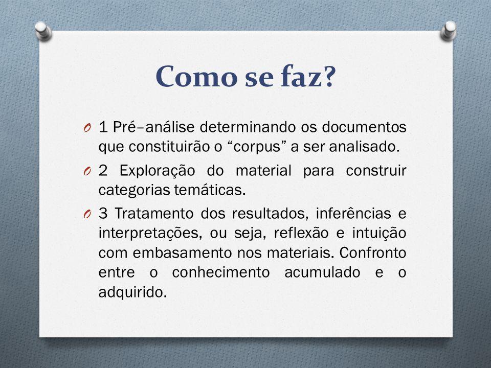 Como se faz 1 Pré–análise determinando os documentos que constituirão o corpus a ser analisado.