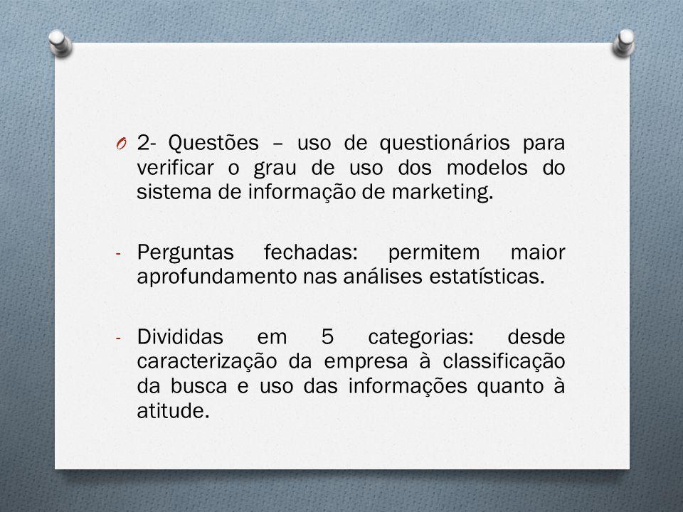 2- Questões – uso de questionários para verificar o grau de uso dos modelos do sistema de informação de marketing.