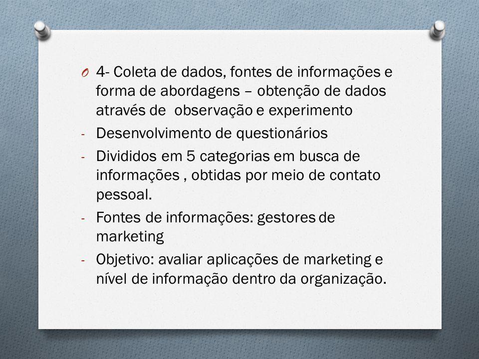 4- Coleta de dados, fontes de informações e forma de abordagens – obtenção de dados através de observação e experimento
