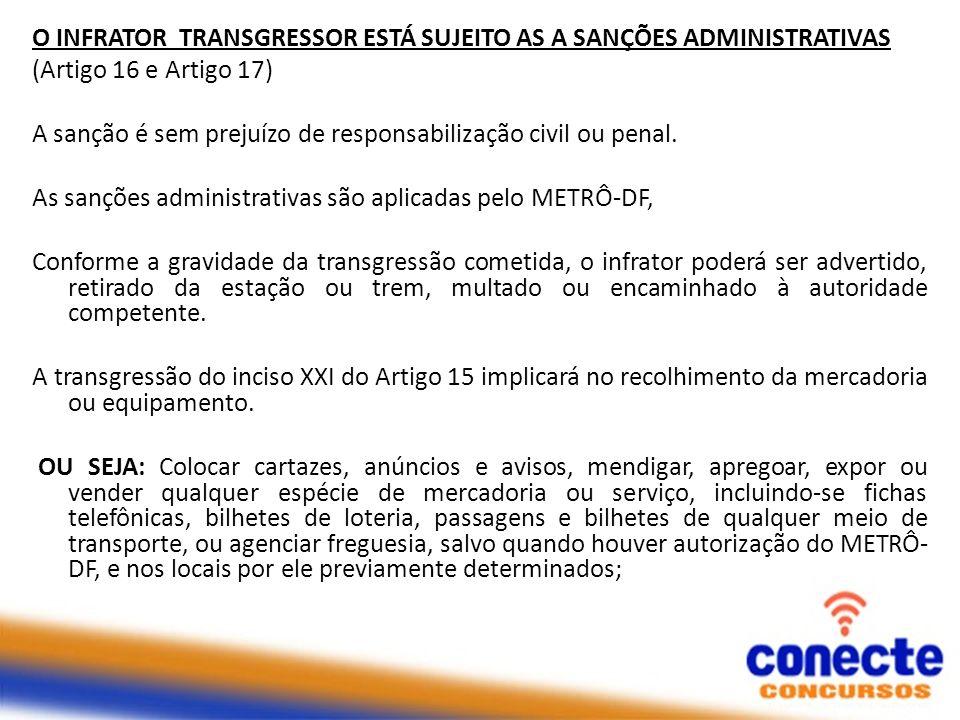 O INFRATOR TRANSGRESSOR ESTÁ SUJEITO AS A SANÇÕES ADMINISTRATIVAS (Artigo 16 e Artigo 17) A sanção é sem prejuízo de responsabilização civil ou penal.