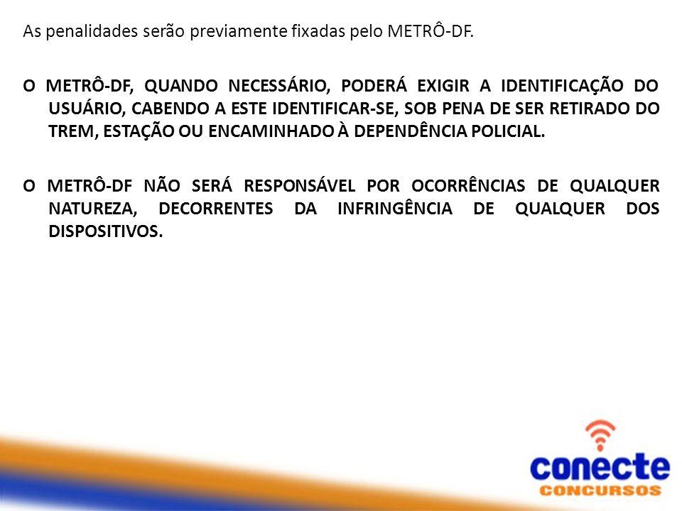 As penalidades serão previamente fixadas pelo METRÔ-DF