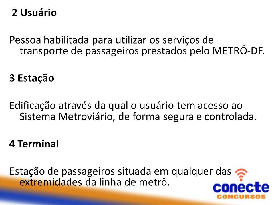 2 Usuário Pessoa habilitada para utilizar os serviços de transporte de passageiros prestados pelo METRÔ-DF.