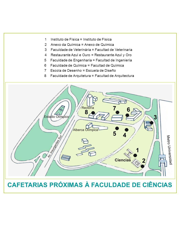 CAFETARIAS PRÓXIMAS À FACULDADE DE CIÊNCIAS