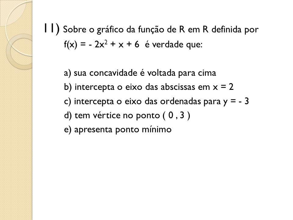 11) Sobre o gráfico da função de R em R definida por