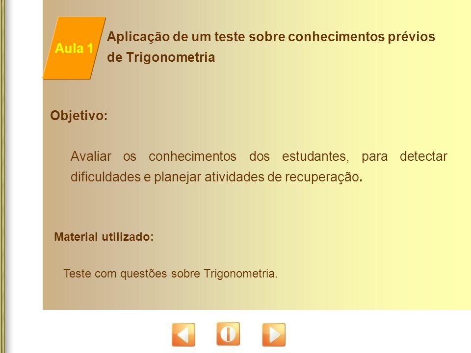 Aplicação de um teste sobre conhecimentos prévios de Trigonometria