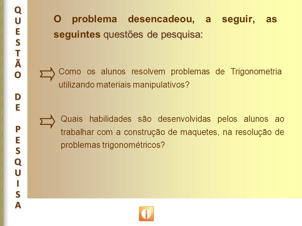O problema desencadeou, a seguir, as seguintes questões de pesquisa: