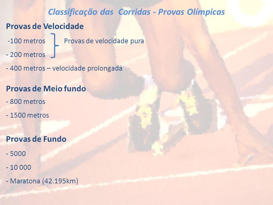 Classificação das Corridas - Provas Olímpicas