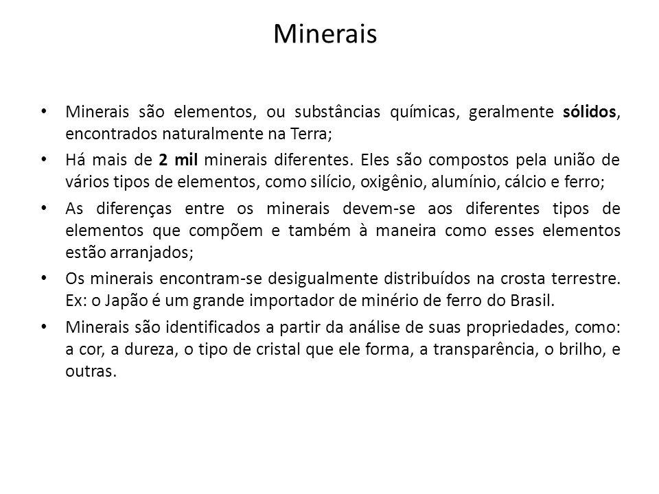 Minerais Minerais são elementos, ou substâncias químicas, geralmente sólidos, encontrados naturalmente na Terra;