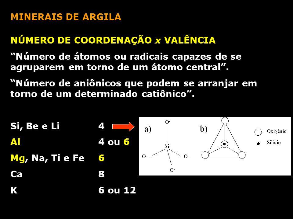 MINERAIS DE ARGILA NÚMERO DE COORDENAÇÃO x VALÊNCIA. Número de átomos ou radicais capazes de se agruparem em torno de um átomo central .