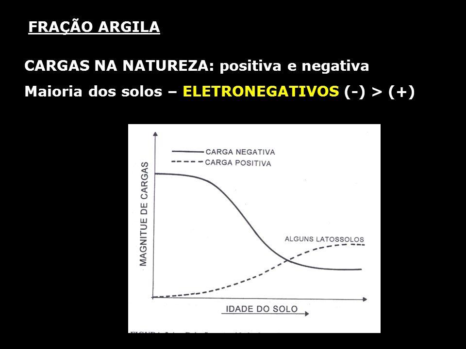 FRAÇÃO ARGILA CARGAS NA NATUREZA: positiva e negativa Maioria dos solos – ELETRONEGATIVOS (-) > (+)