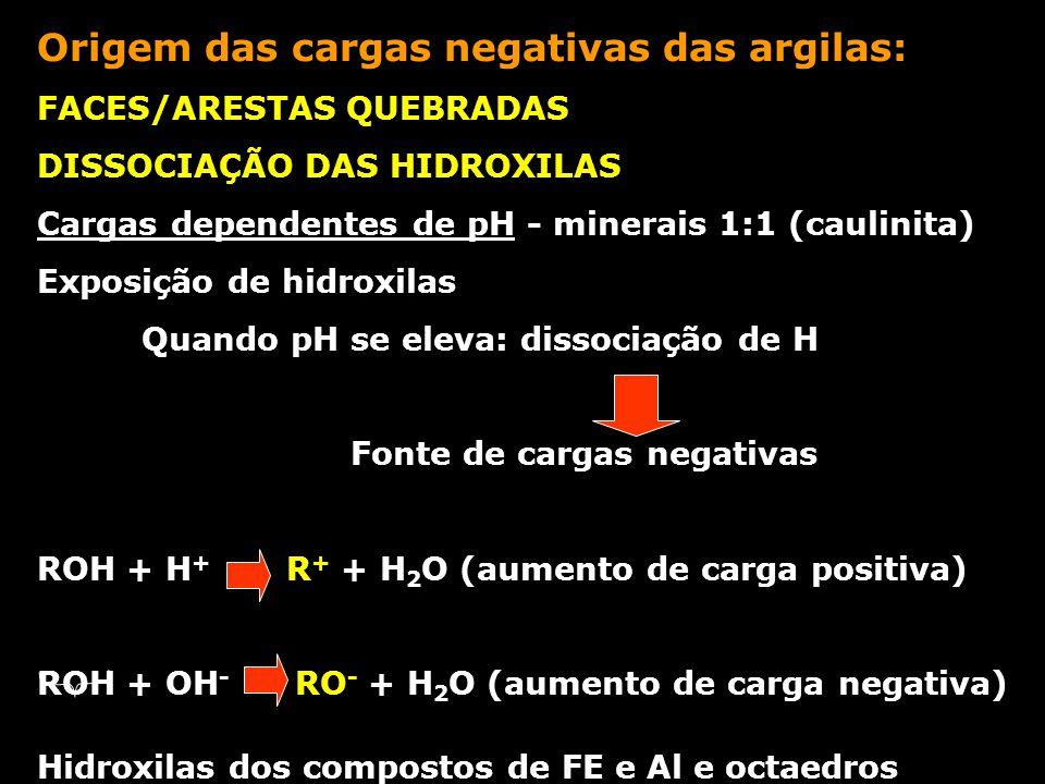 Origem das cargas negativas das argilas: