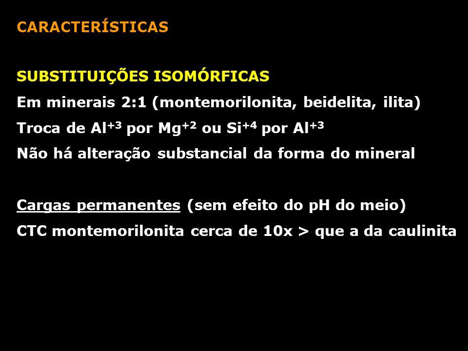 CARACTERÍSTICAS SUBSTITUIÇÕES ISOMÓRFICAS. Em minerais 2:1 (montemorilonita, beidelita, ilita) Troca de Al+3 por Mg+2 ou Si+4 por Al+3.
