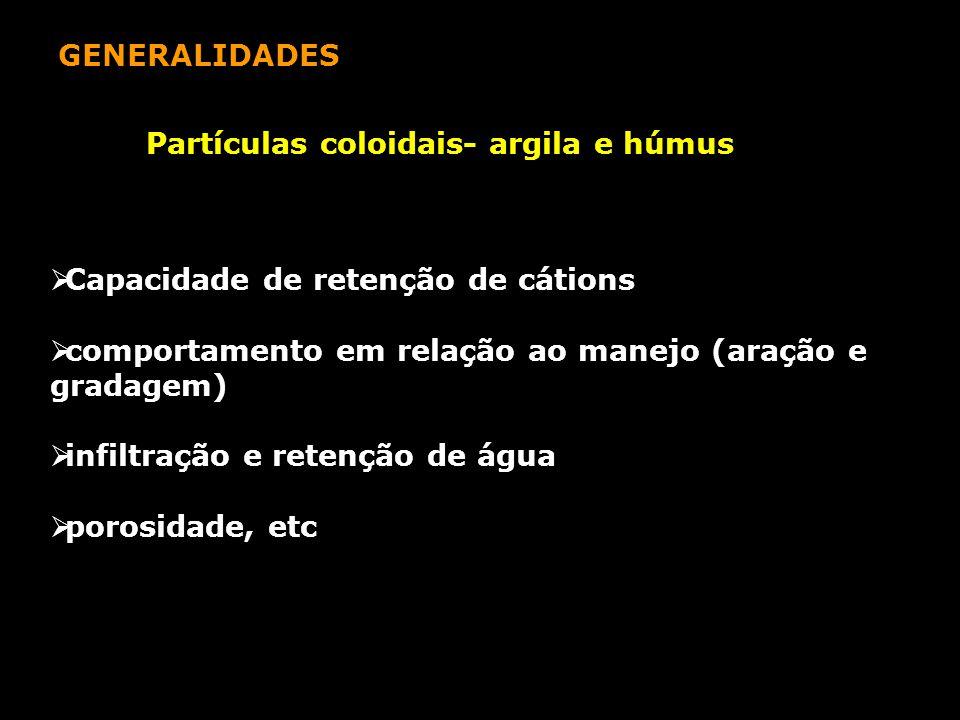 GENERALIDADES Partículas coloidais- argila e húmus. Capacidade de retenção de cátions. comportamento em relação ao manejo (aração e gradagem)