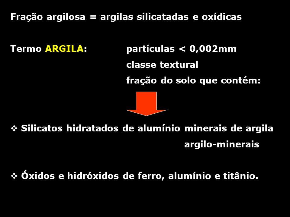 Fração argilosa = argilas silicatadas e oxídicas