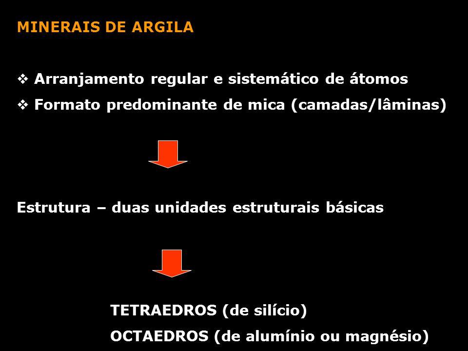 MINERAIS DE ARGILA Arranjamento regular e sistemático de átomos. Formato predominante de mica (camadas/lâminas)