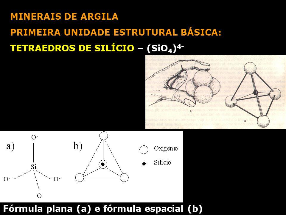 MINERAIS DE ARGILA PRIMEIRA UNIDADE ESTRUTURAL BÁSICA: TETRAEDROS DE SILÍCIO – (SiO4)4- Fórmula plana (a) e fórmula espacial (b)