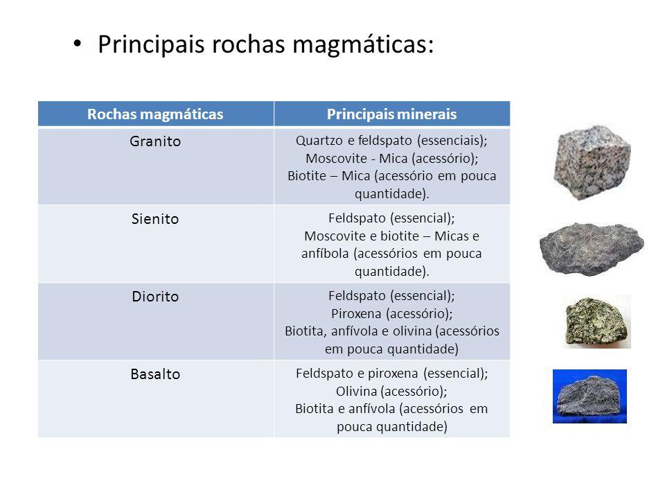 Principais rochas magmáticas: