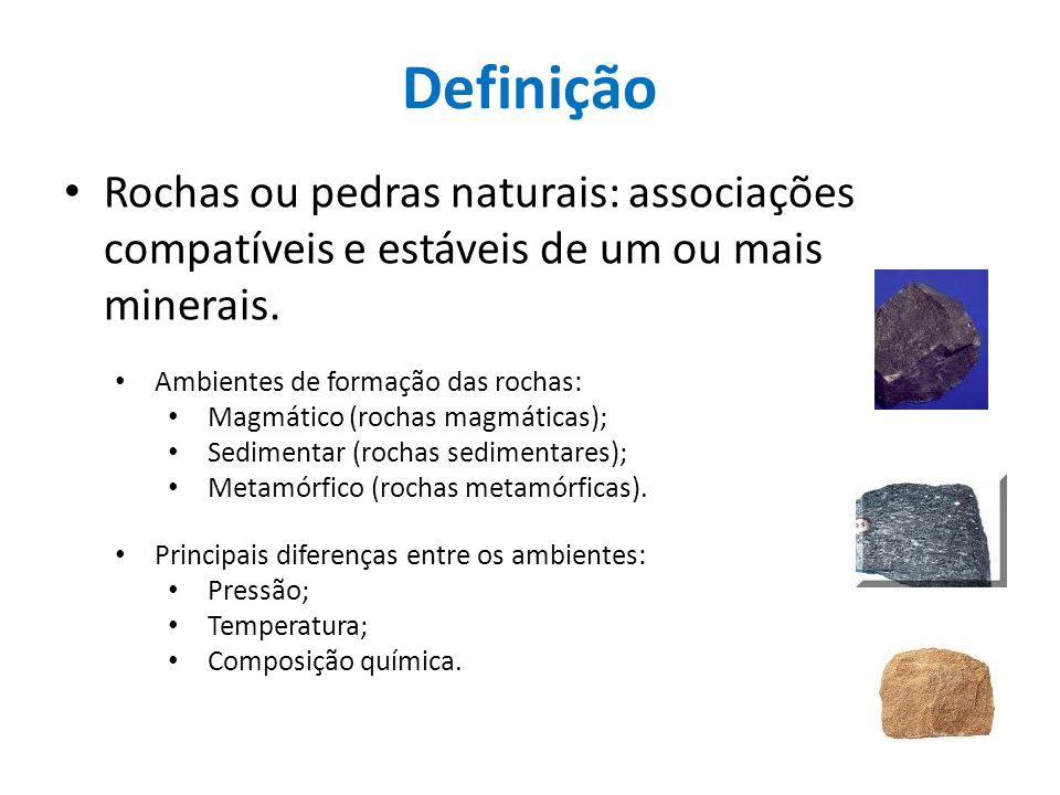 Definição Rochas ou pedras naturais: associações compatíveis e estáveis de um ou mais minerais. Ambientes de formação das rochas: