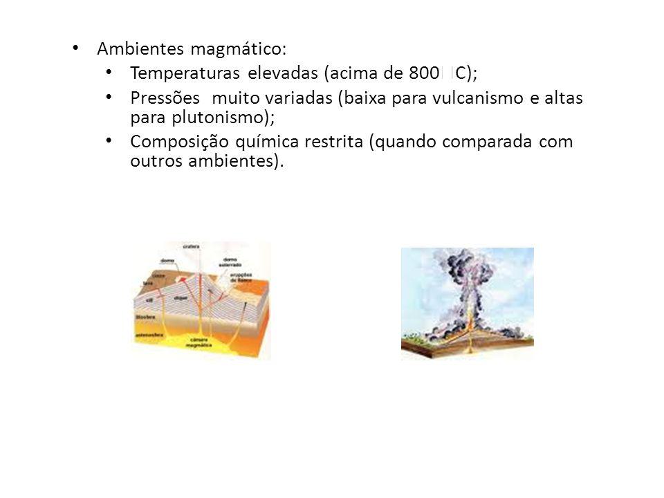 Ambientes magmático: Temperaturas elevadas (acima de 800C); Pressões muito variadas (baixa para vulcanismo e altas para plutonismo);