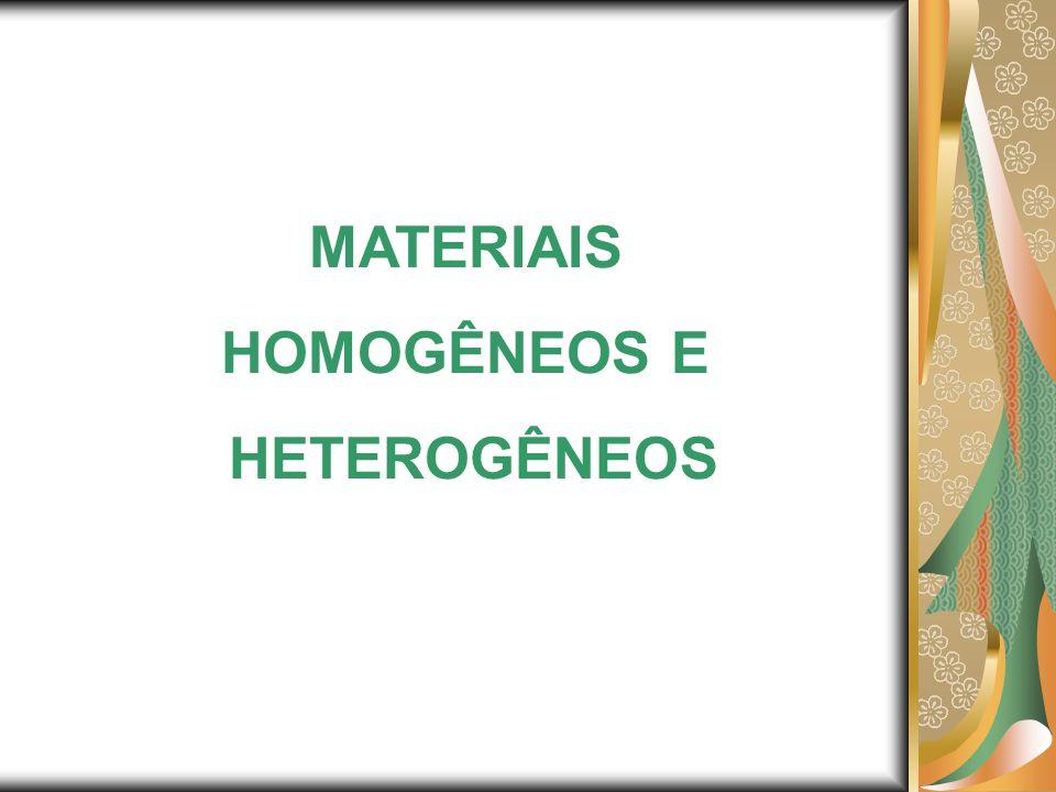 MATERIAIS HOMOGÊNEOS E HETEROGÊNEOS