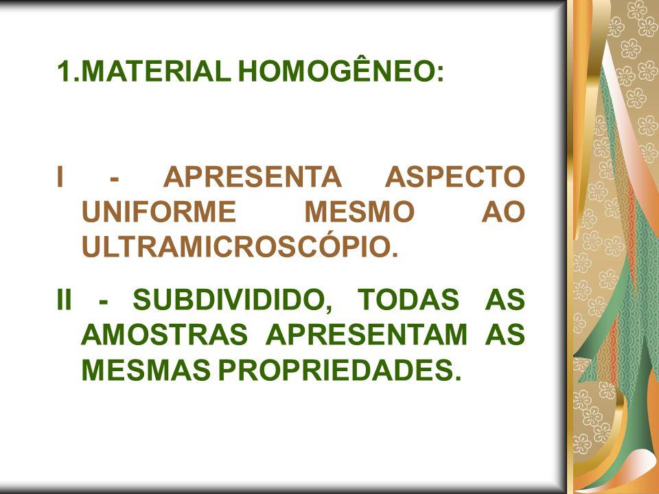 MATERIAL HOMOGÊNEO: I - APRESENTA ASPECTO UNIFORME MESMO AO ULTRAMICROSCÓPIO.