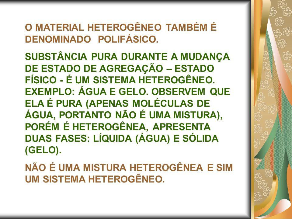 O MATERIAL HETEROGÊNEO TAMBÉM É DENOMINADO POLIFÁSICO.