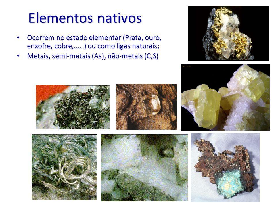 Elementos nativos Ocorrem no estado elementar (Prata, ouro, enxofre, cobre,.....) ou como ligas naturais;