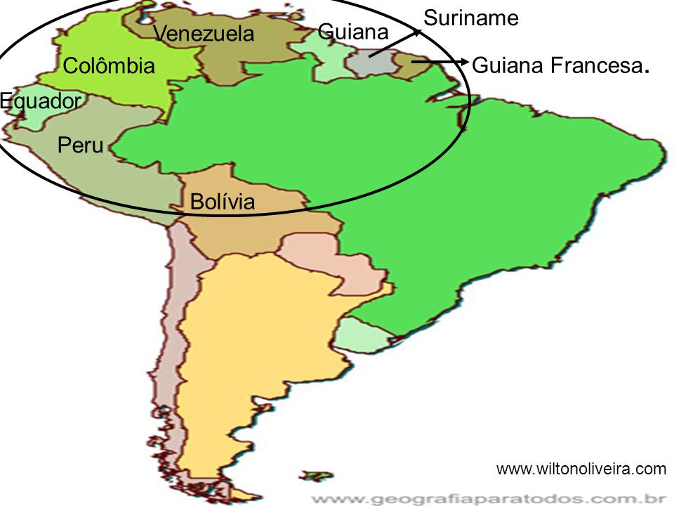 Guiana Francesa. Suriname Venezuela Guiana Colômbia Equador Peru