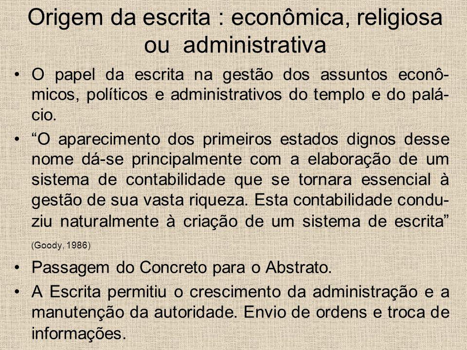Origem da escrita : econômica, religiosa ou administrativa