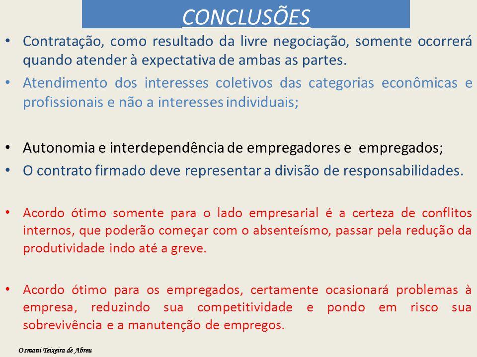 CONCLUSÕES Contratação, como resultado da livre negociação, somente ocorrerá quando atender à expectativa de ambas as partes.