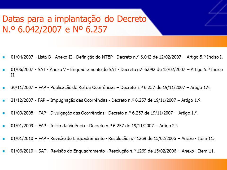 Datas para a implantação do Decreto N.º 6.042/2007 e Nº 6.257