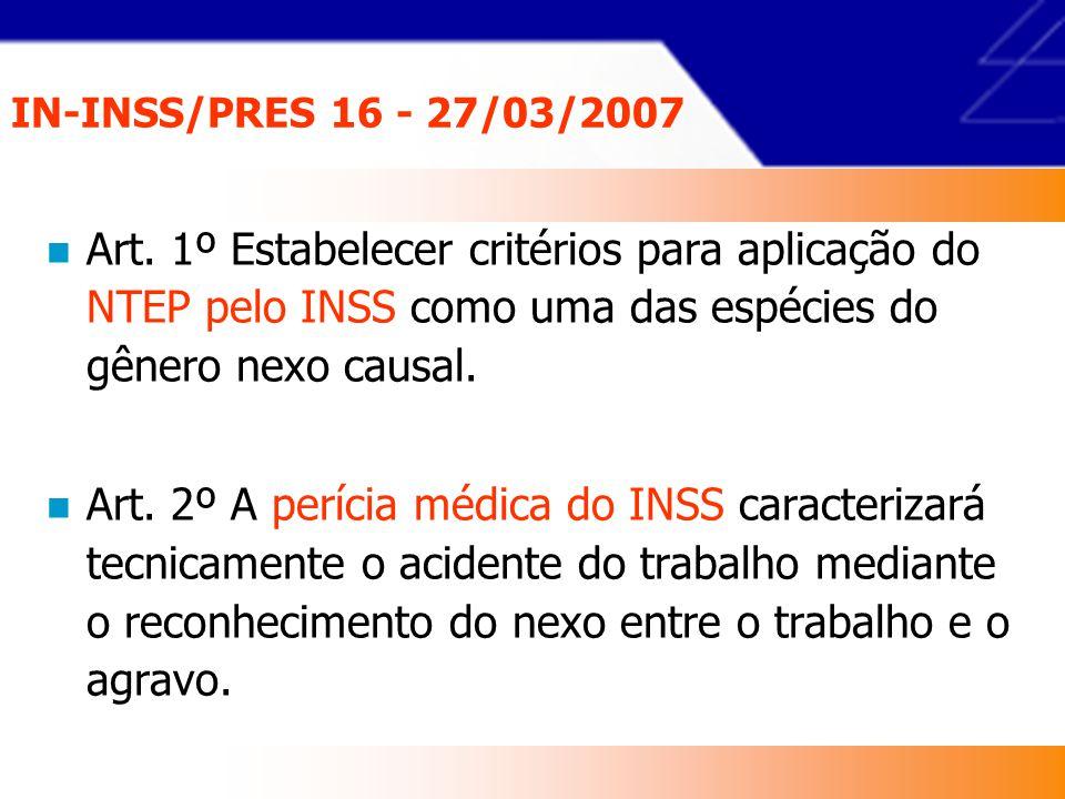 IN-INSS/PRES 16 - 27/03/2007 Art. 1º Estabelecer critérios para aplicação do NTEP pelo INSS como uma das espécies do gênero nexo causal.