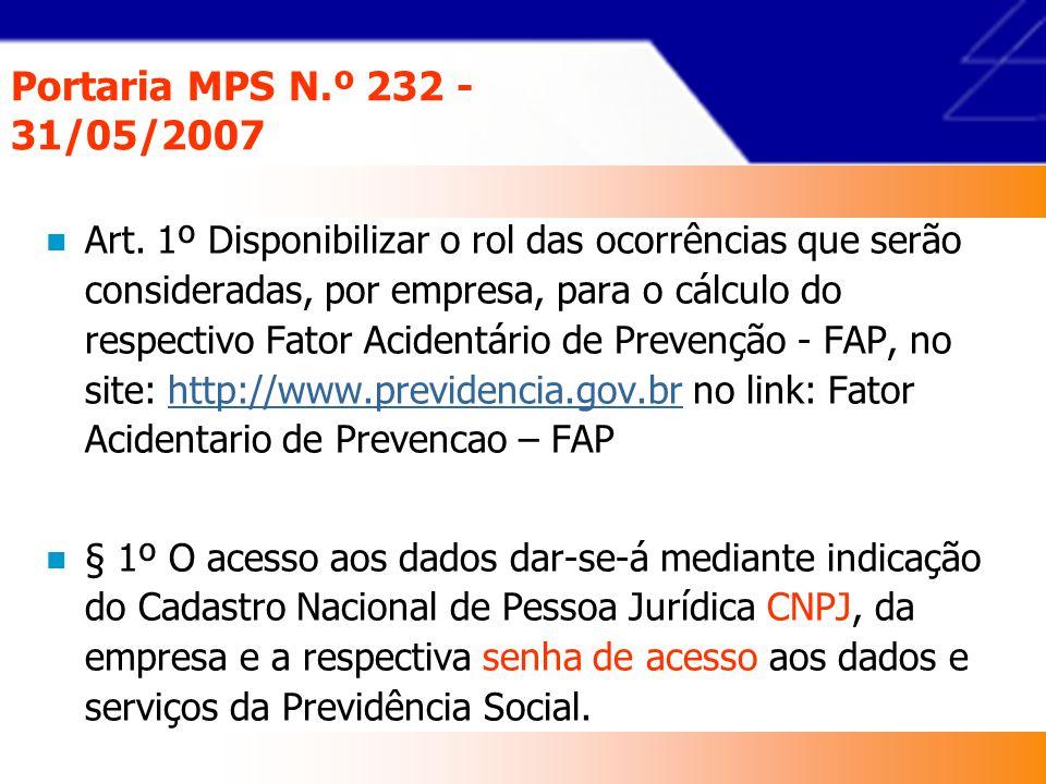 Portaria MPS N.º 232 - 31/05/2007