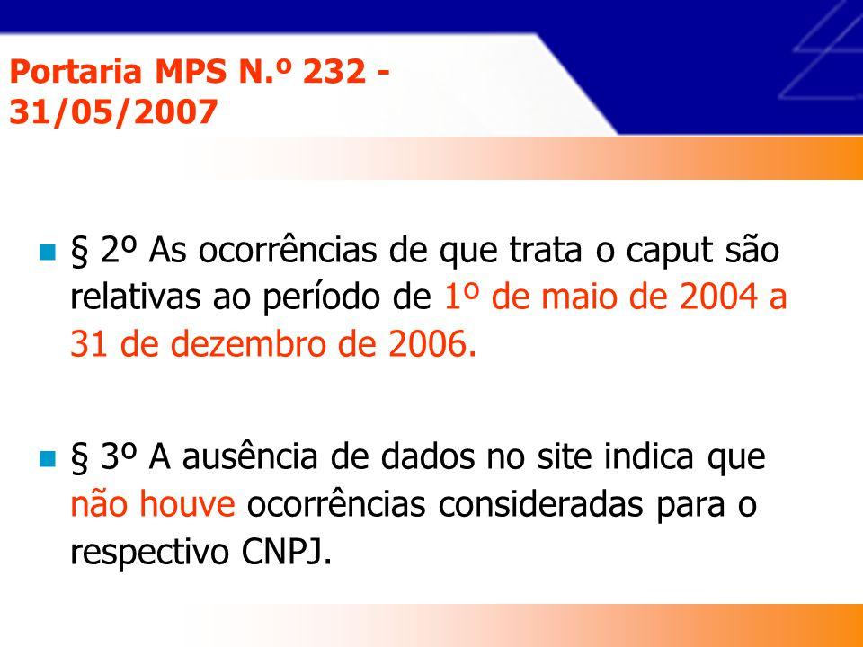 Portaria MPS N.º 232 - 31/05/2007 § 2º As ocorrências de que trata o caput são relativas ao período de 1º de maio de 2004 a 31 de dezembro de 2006.