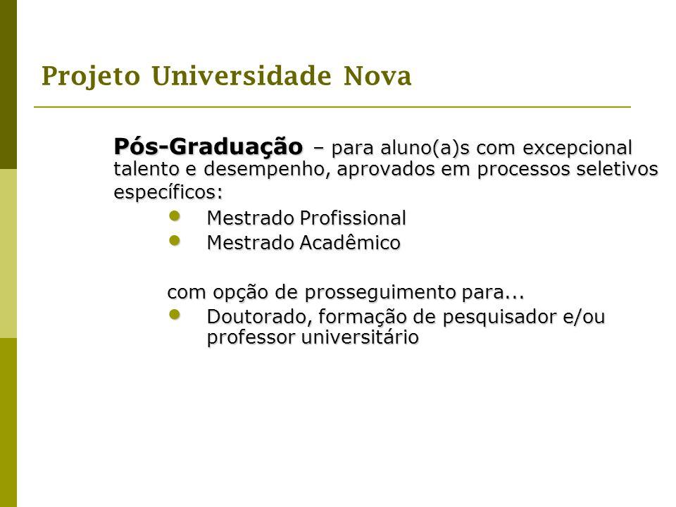 Pós-Graduação – para aluno(a)s com excepcional talento e desempenho, aprovados em processos seletivos específicos: