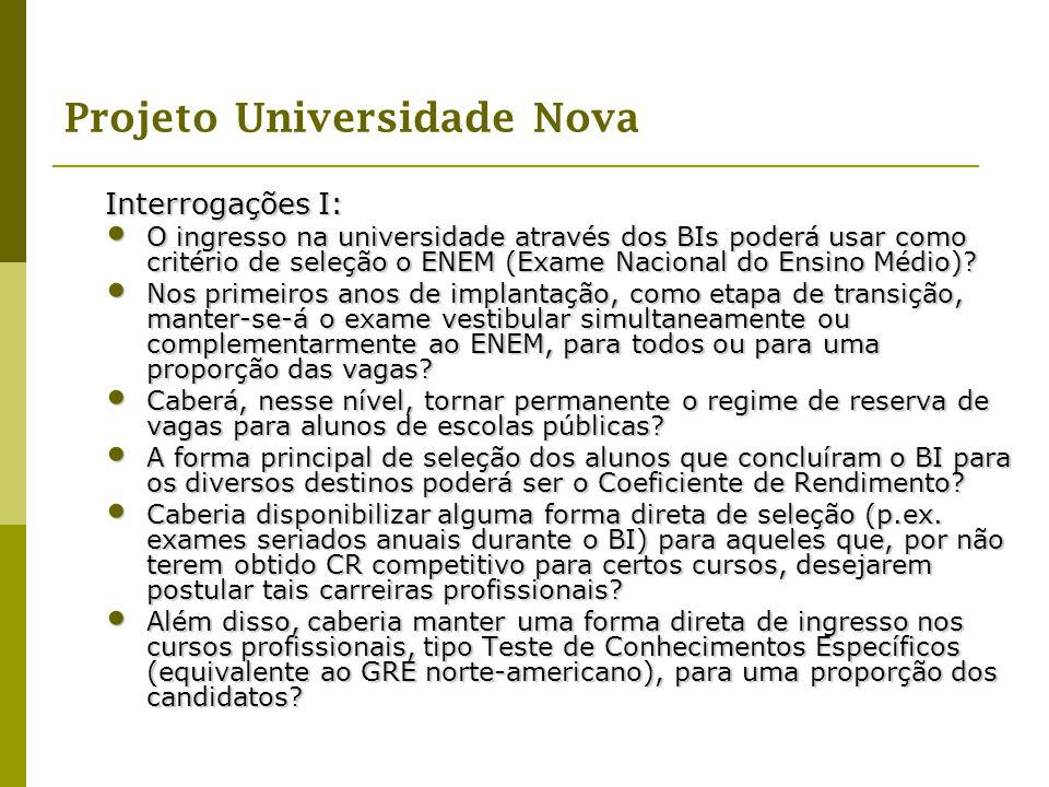 Interrogações I: O ingresso na universidade através dos BIs poderá usar como critério de seleção o ENEM (Exame Nacional do Ensino Médio)