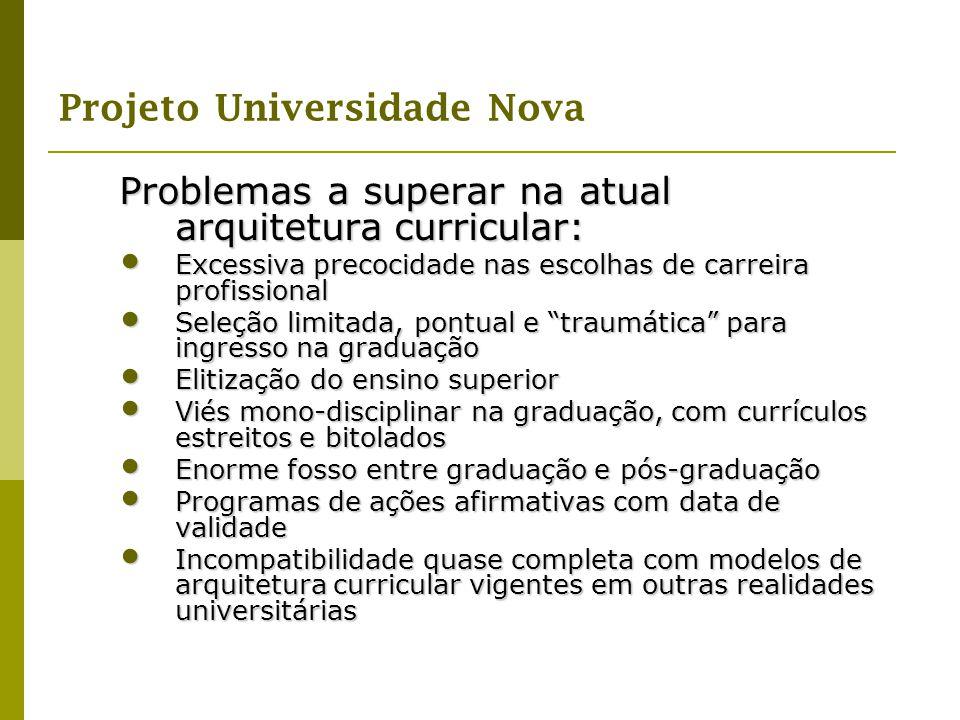 Problemas a superar na atual arquitetura curricular: