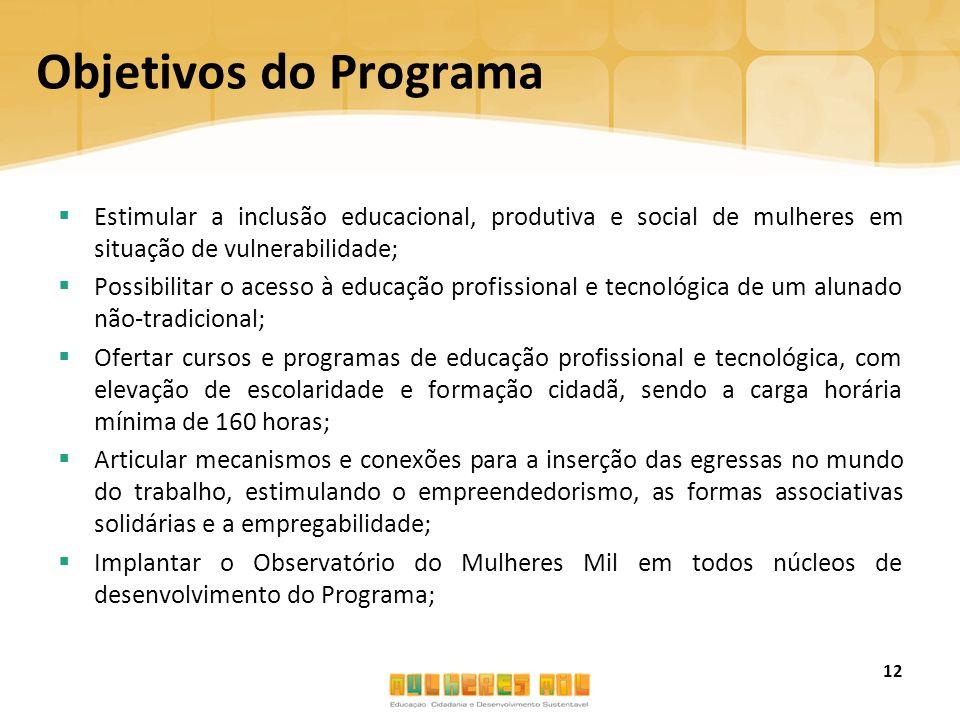 Objetivos do Programa Estimular a inclusão educacional, produtiva e social de mulheres em situação de vulnerabilidade;