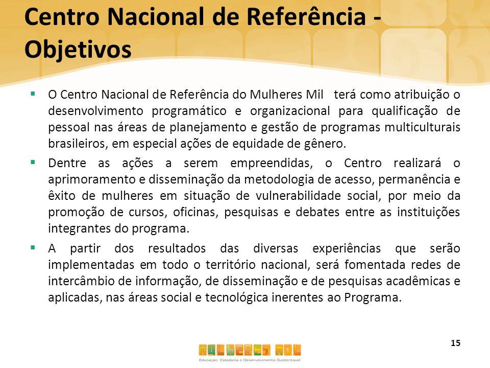 Centro Nacional de Referência - Objetivos