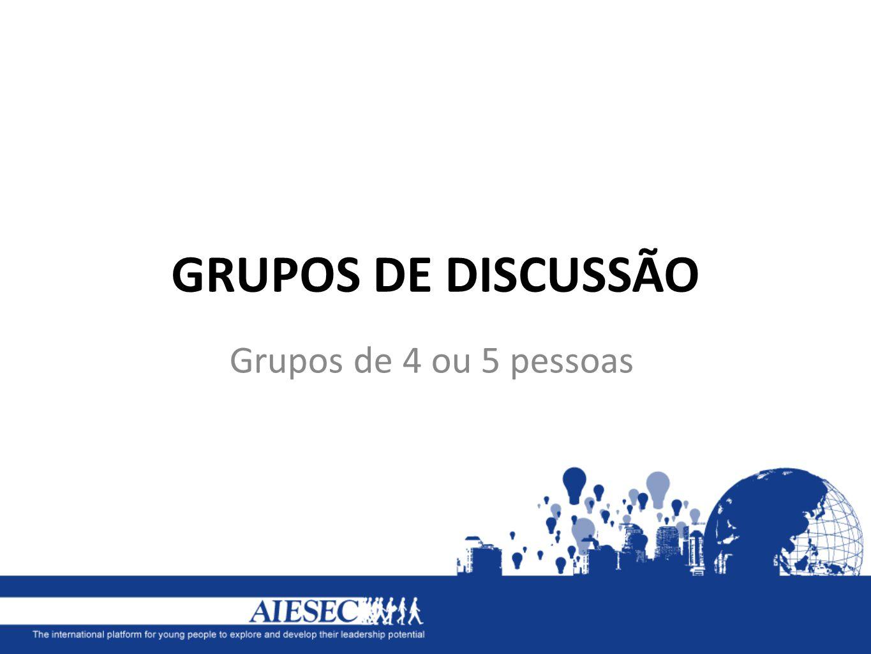 GRUPOS DE DISCUSSÃO Grupos de 4 ou 5 pessoas