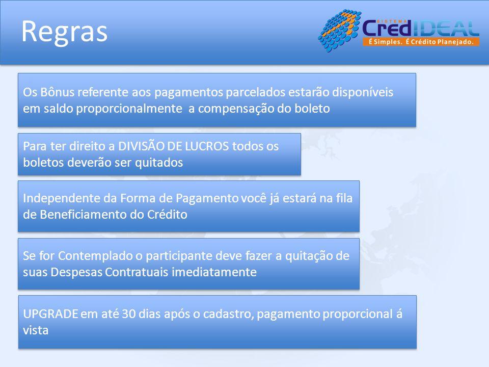 Regras Os Bônus referente aos pagamentos parcelados estarão disponíveis em saldo proporcionalmente a compensação do boleto.