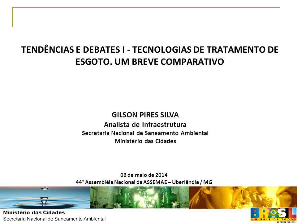 TENDÊNCIAS E DEBATES I - TECNOLOGIAS DE TRATAMENTO DE ESGOTO