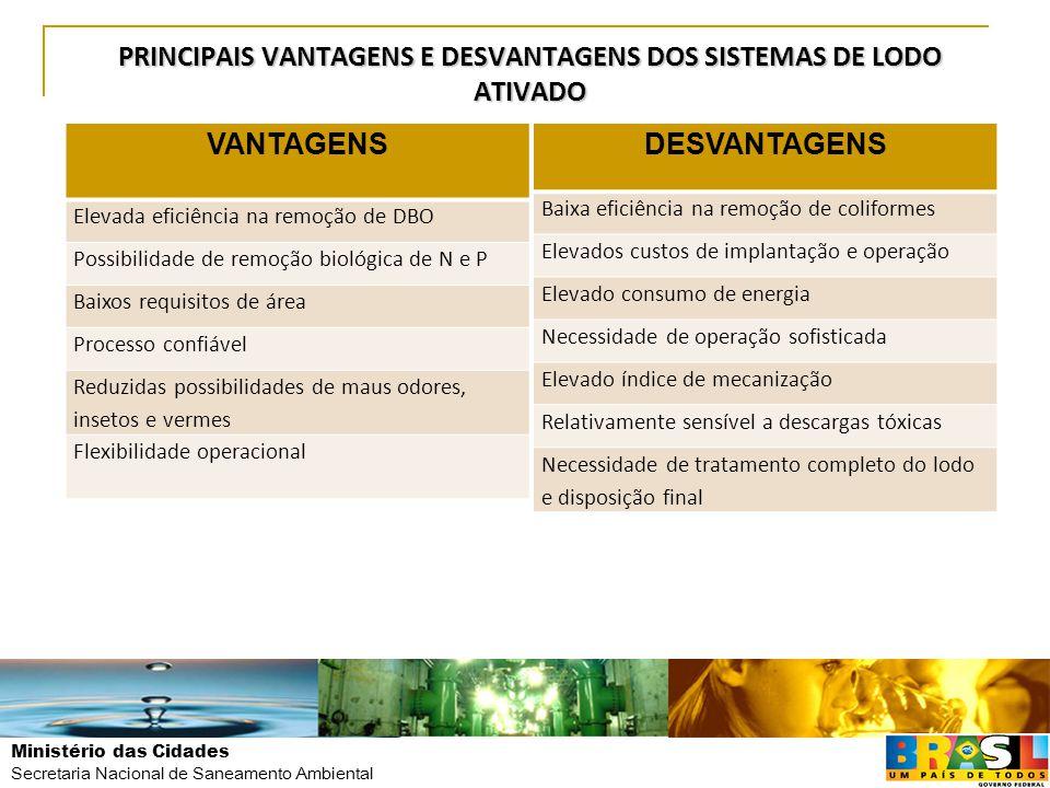 PRINCIPAIS VANTAGENS E DESVANTAGENS DOS SISTEMAS DE LODO ATIVADO