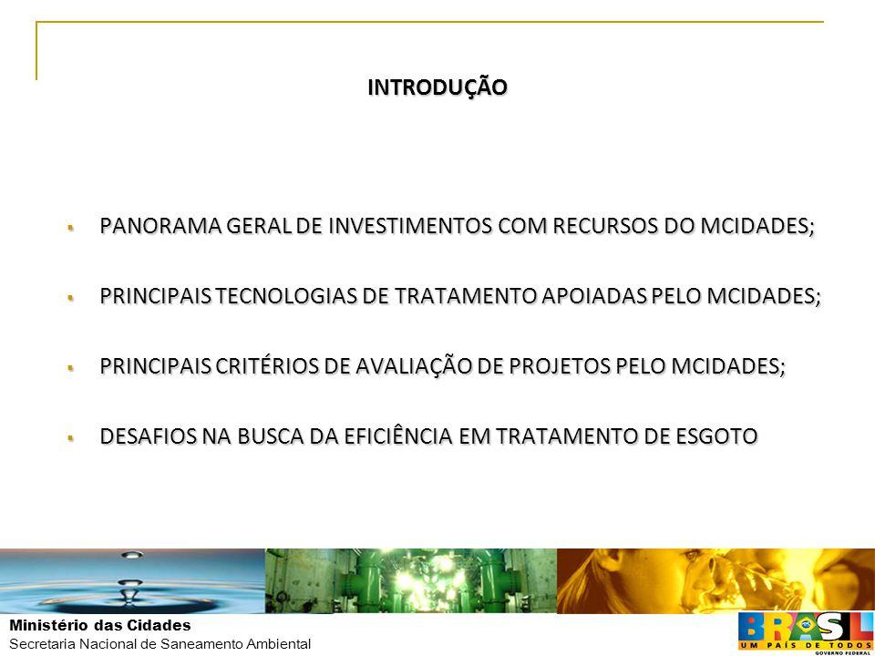 INTRODUÇÃO PANORAMA GERAL DE INVESTIMENTOS COM RECURSOS DO MCIDADES; PRINCIPAIS TECNOLOGIAS DE TRATAMENTO APOIADAS PELO MCIDADES;