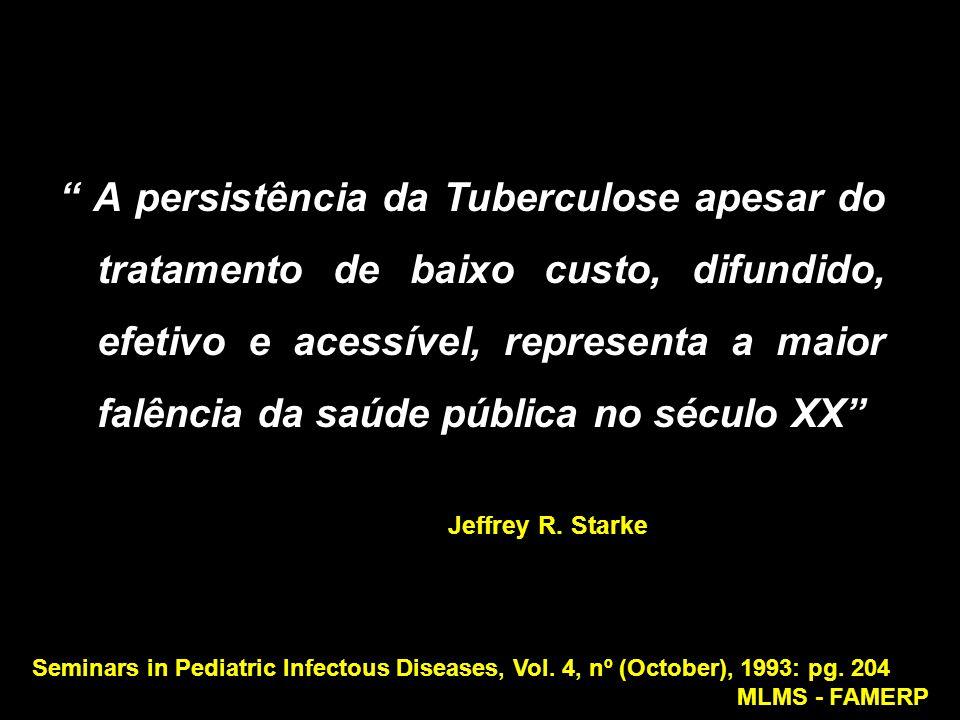 A persistência da Tuberculose apesar do tratamento de baixo custo, difundido, efetivo e acessível, representa a maior falência da saúde pública no século XX