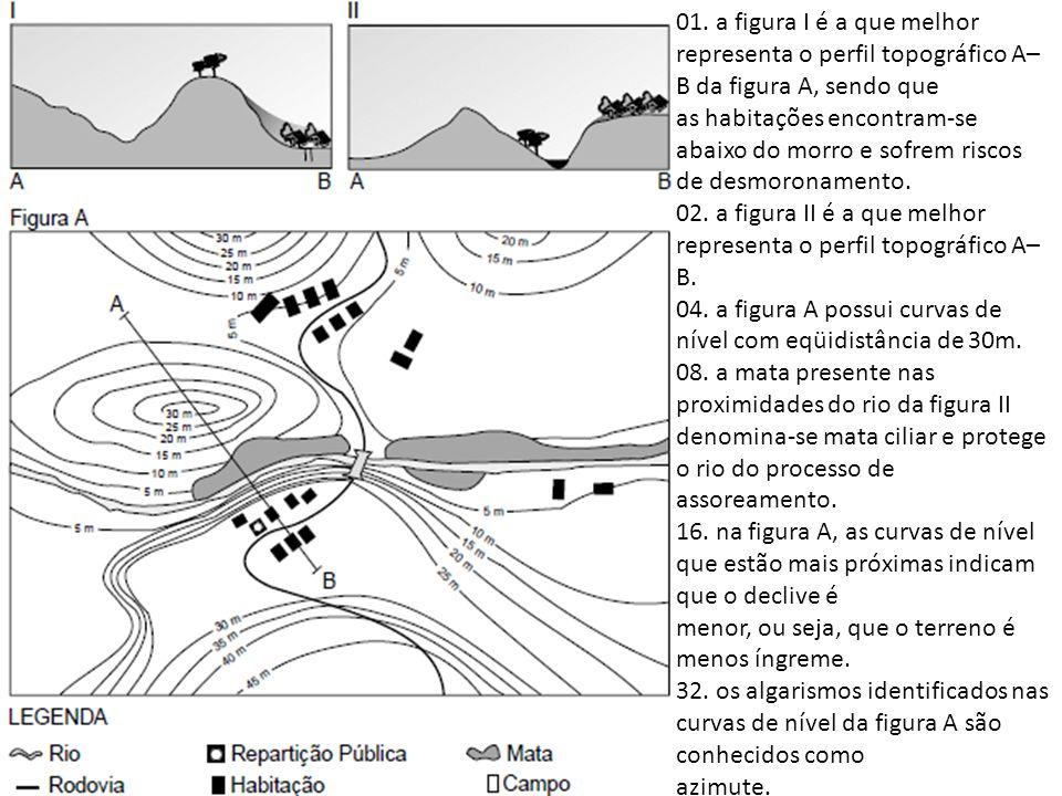 01. a figura I é a que melhor representa o perfil topográfico A–B da figura A, sendo que