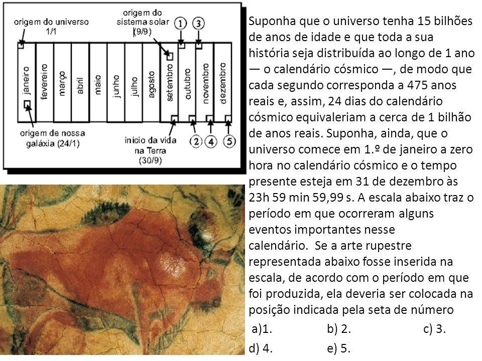 Suponha que o universo tenha 15 bilhões de anos de idade e que toda a sua história seja distribuída ao longo de 1 ano — o calendário cósmico —, de modo que cada segundo corresponda a 475 anos reais e, assim, 24 dias do calendário cósmico equivaleriam a cerca de 1 bilhão de anos reais. Suponha, ainda, que o universo comece em 1.º de janeiro a zero hora no calendário cósmico e o tempo presente esteja em 31 de dezembro às 23h 59 min 59,99 s. A escala abaixo traz o período em que ocorreram alguns eventos importantes nesse calendário. Se a arte rupestre representada abaixo fosse inserida na escala, de acordo com o período em que foi produzida, ela deveria ser colocada na posição indicada pela seta de número