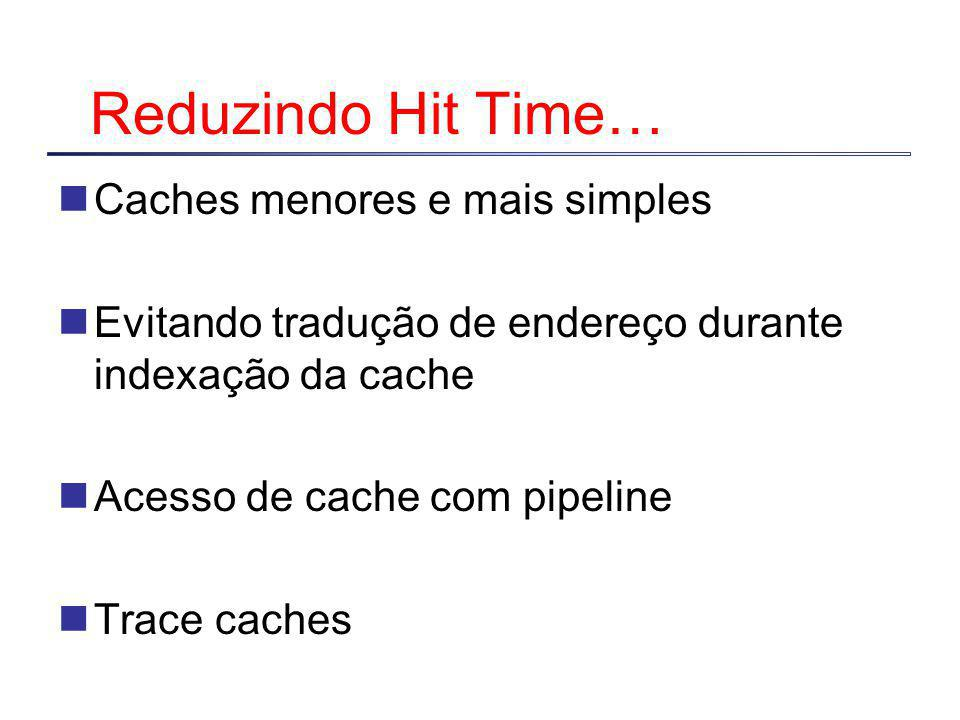 Reduzindo Hit Time… Caches menores e mais simples