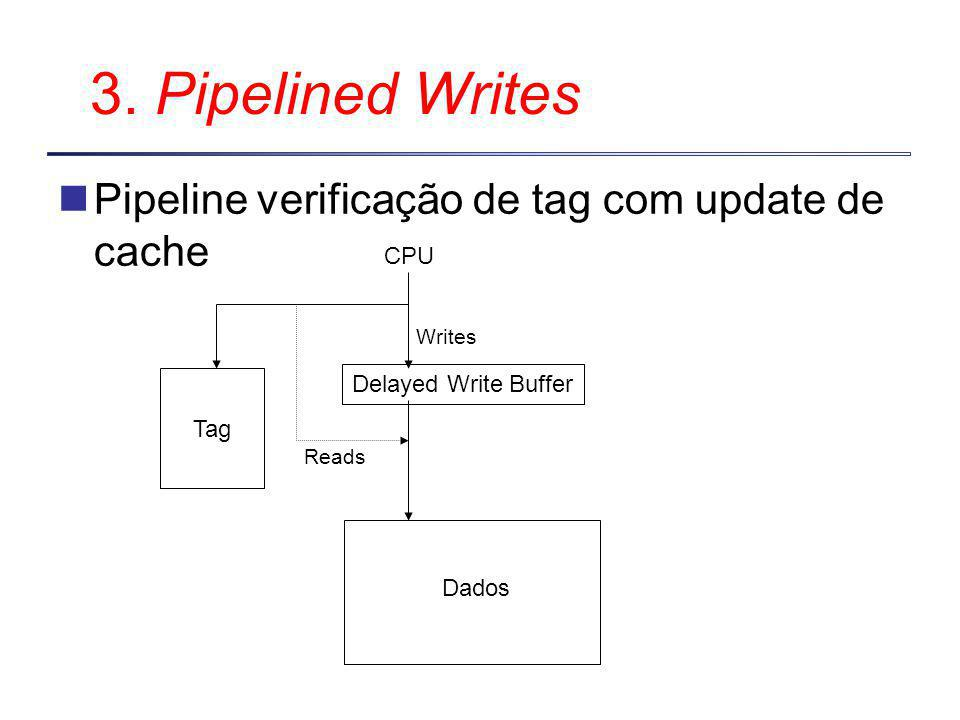 3. Pipelined Writes Pipeline verificação de tag com update de cache