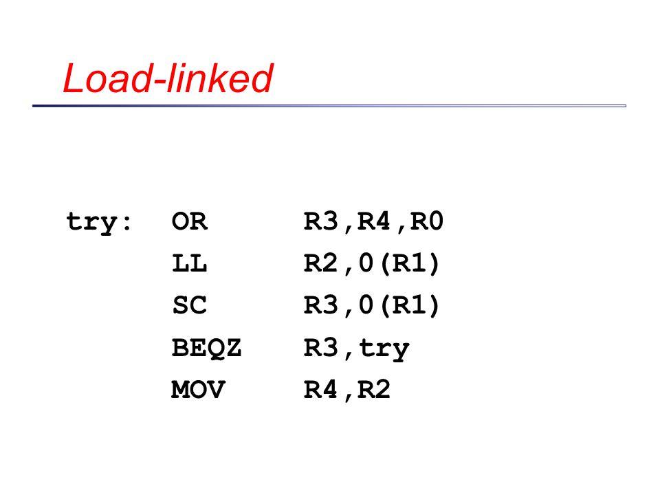 Load-linked try: OR R3,R4,R0 LL R2,0(R1) SC R3,0(R1) BEQZ R3,try